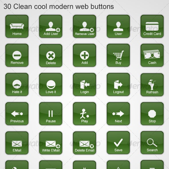30 Clean cool modern web buttons