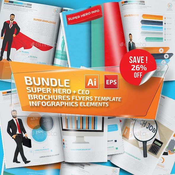 Bundle Super Hero & CEO Businessman Infographics Design