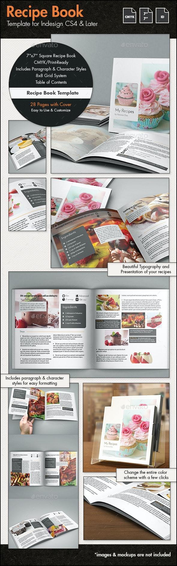 Recipe Book Template - 7x7in - Brochures Print Templates