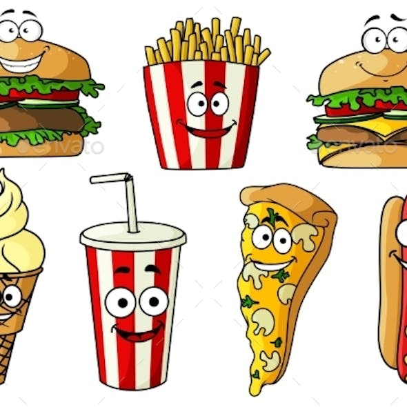Fast Food Isolated Cartoon Characters