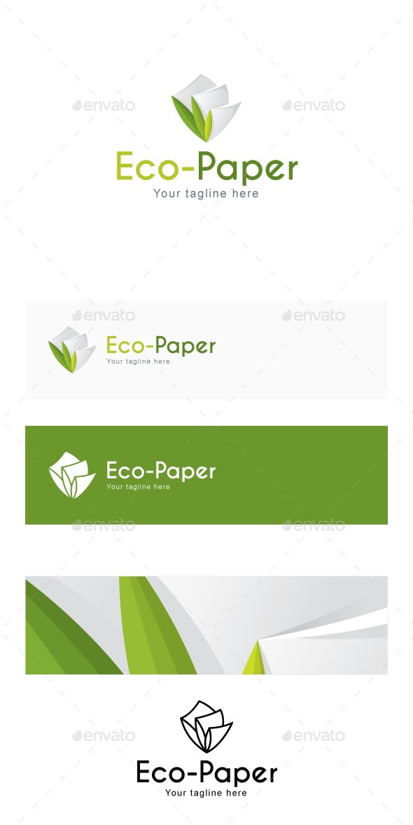 Eco Paper - Recyclable Stationary Products Stock Logo Template for Manufacturing & Green Projects