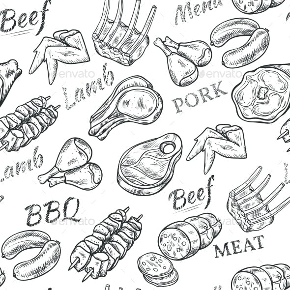 Meat Sketch Seamless Pattern