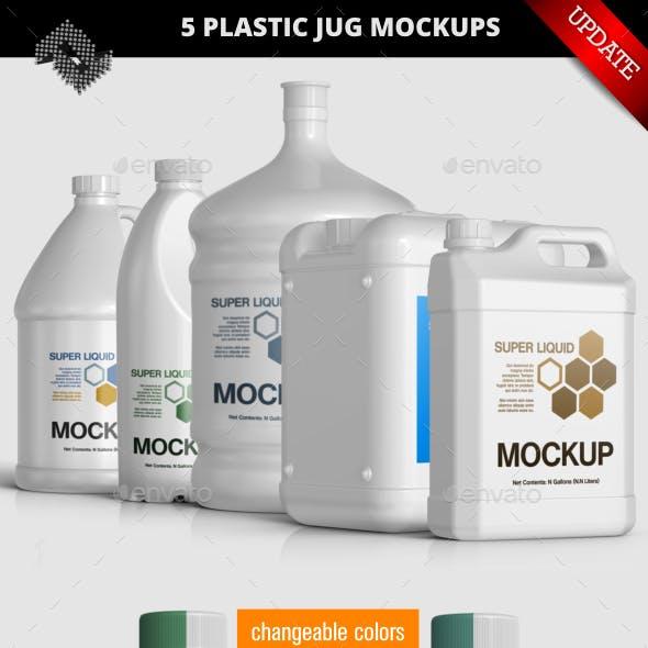 5 Plastic Jug / Gallon Mockups