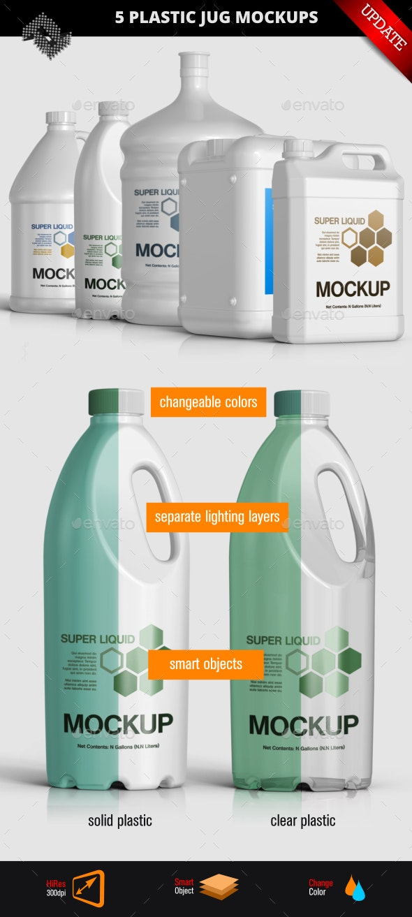 5 Plastic Jug / Gallon Mockups - Packaging Product Mock-Ups