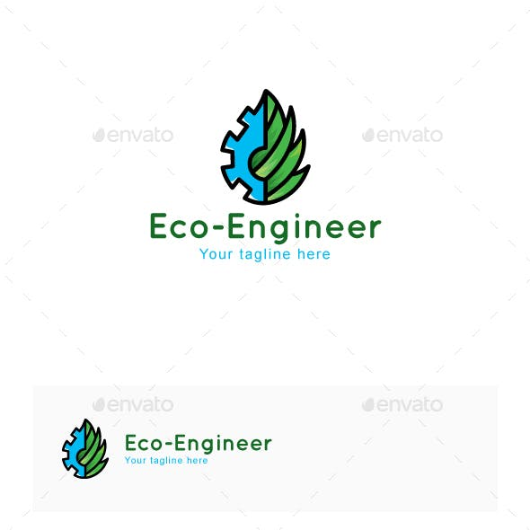 Eco Engineer - Environment Friendly Manufacturing Industry Stock Logo Template for Green Tools & Mac