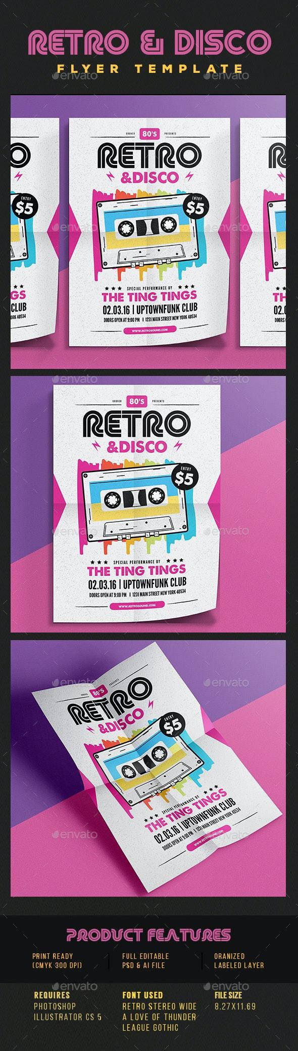Retro Disco Flyer - Concerts Events