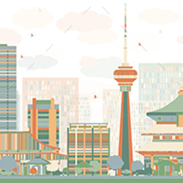 Abstract Beijing Skyline with Color Buildings