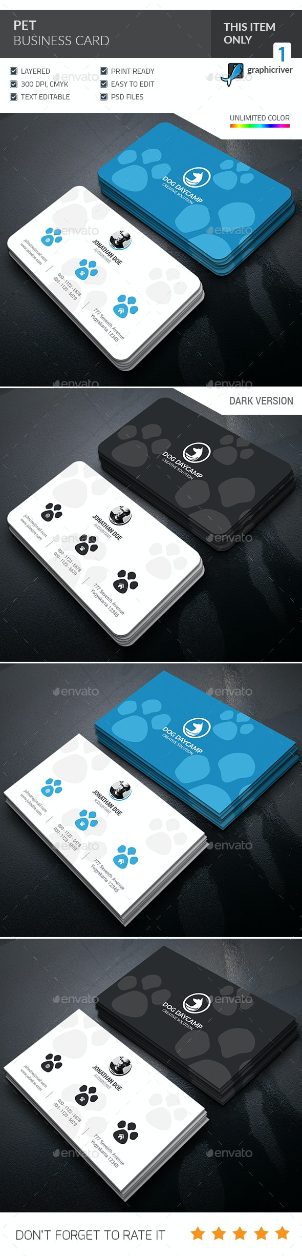 Pets Care Business Card  - Industry Specific Business Cards