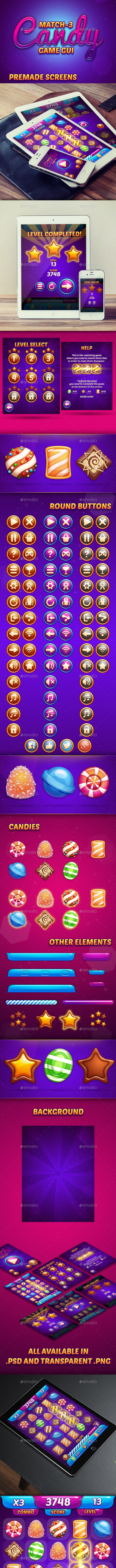 Match-3 Candy Game GUI - User Interfaces Game Assets