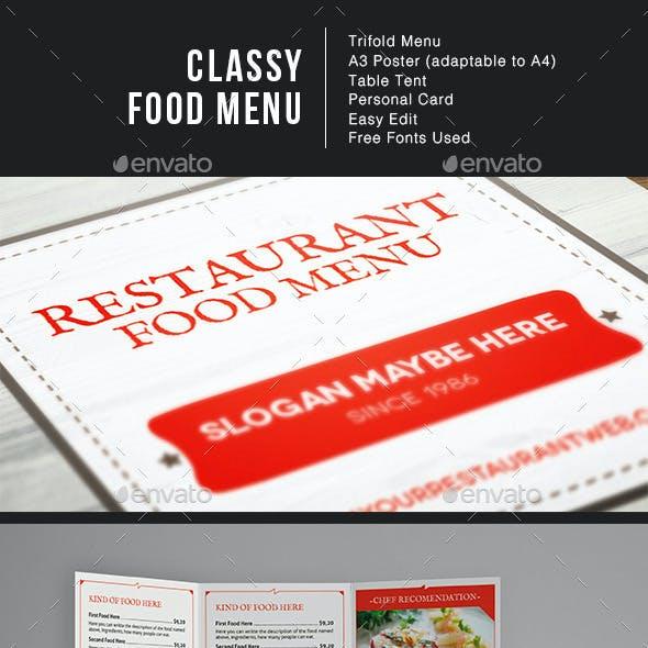 Classy Food Menu Illustrator Template