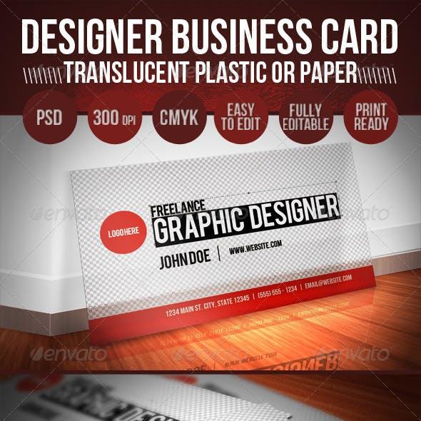 Translucent Plastic Designer Business Card