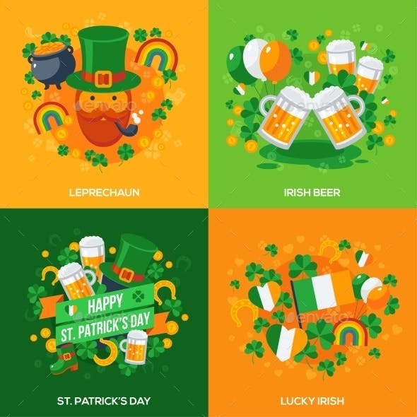 Set of Patricks Day Flat Icons Concept