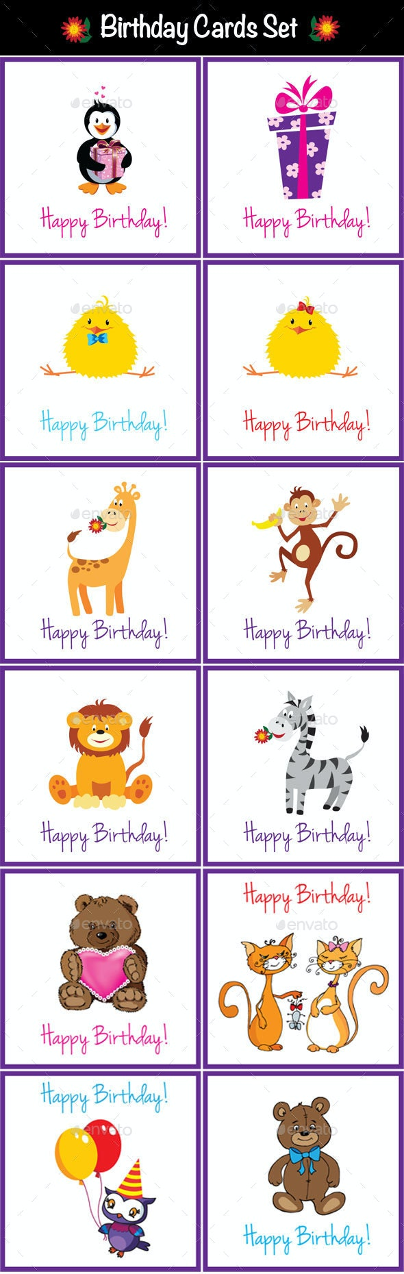 Birthday Cards Set - Birthdays Seasons/Holidays
