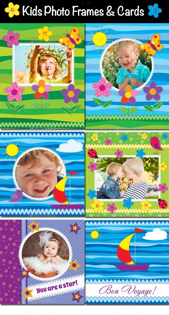 Kids Photo Frames, Invitations or Cards - Backgrounds Decorative