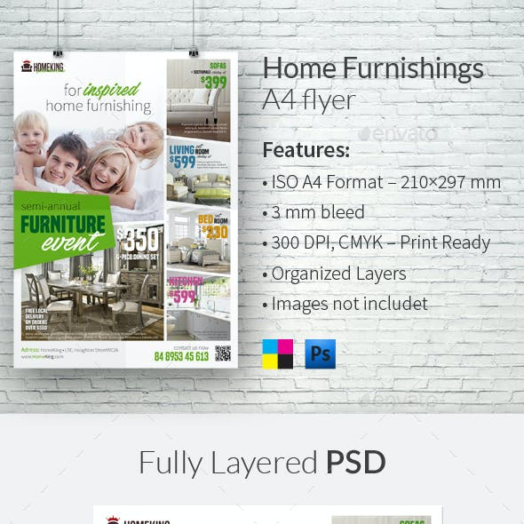 Home Furnishings A4 Flyer Template