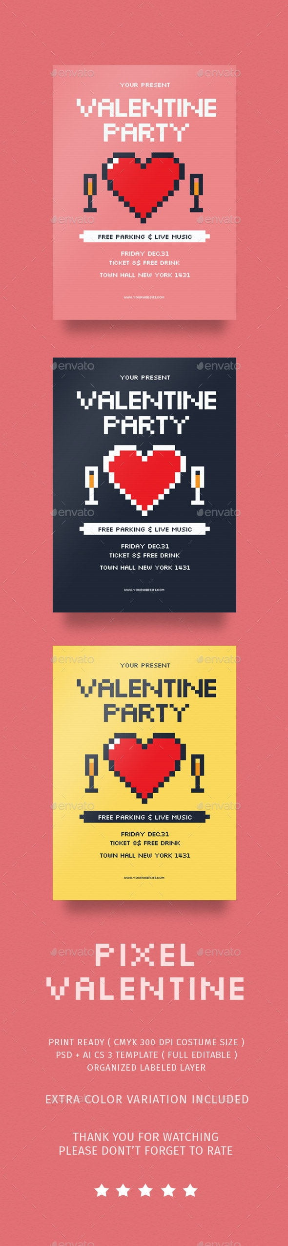 Pixel Valentine Day Flyer - Events Flyers