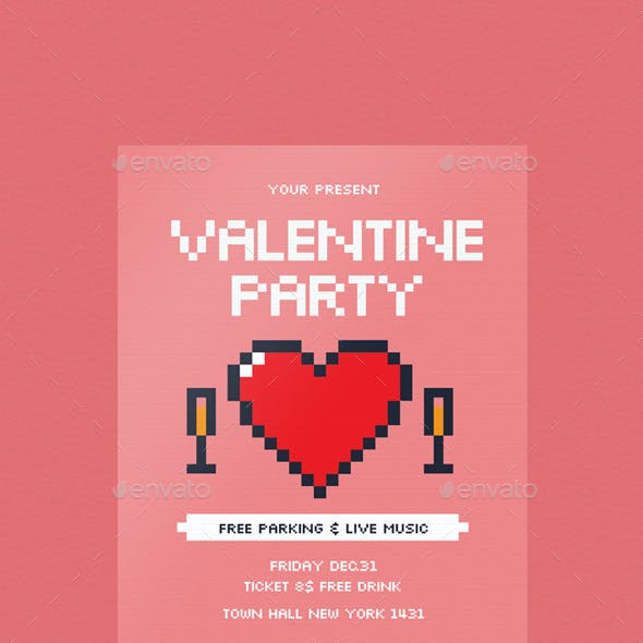 Pixel Valentine Day Flyer