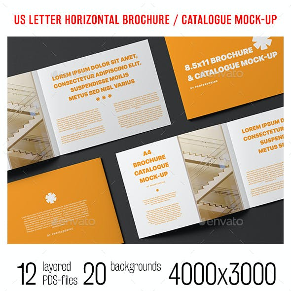 US Letter Horizontal Catalogue / Brochure Mock-Up