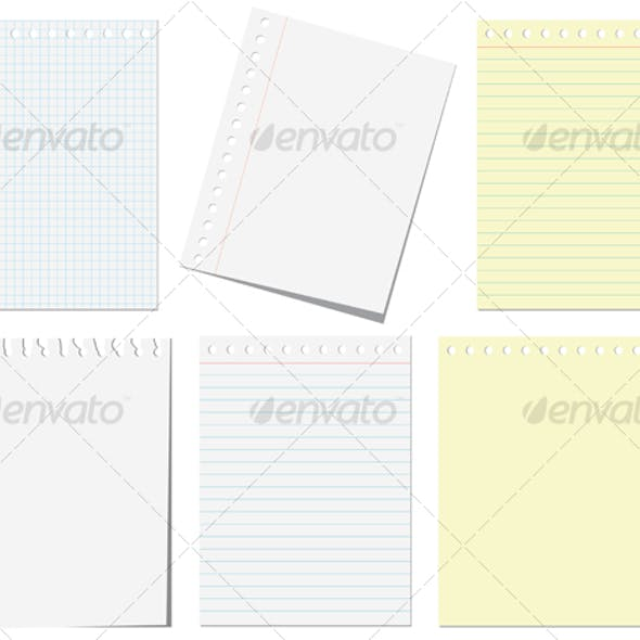 Isolated pages of notebook