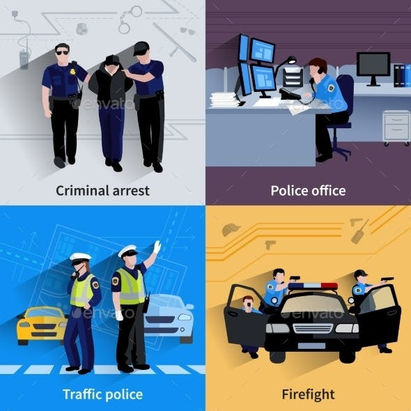 Policeman People 2X2 Design Compositions