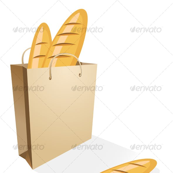 Shopping bag with bread