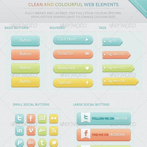 Clean & Colourful Web Elements