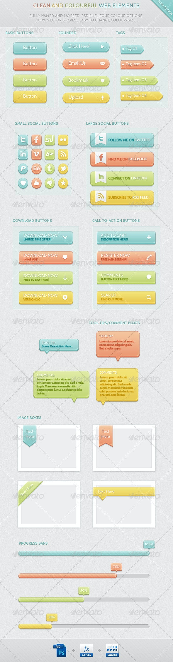 Clean & Colourful Web Elements - Buttons Web Elements