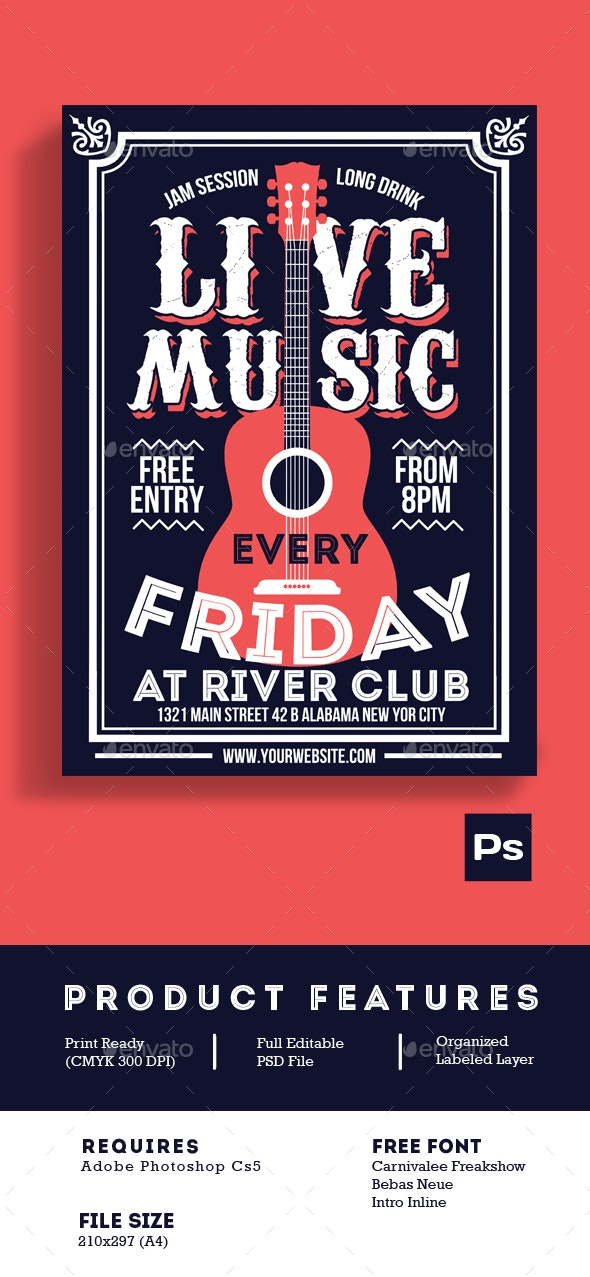 Live Music Poster Flyer - Events Flyers