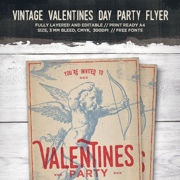 Vintage Cupid Valentines Day Flyer
