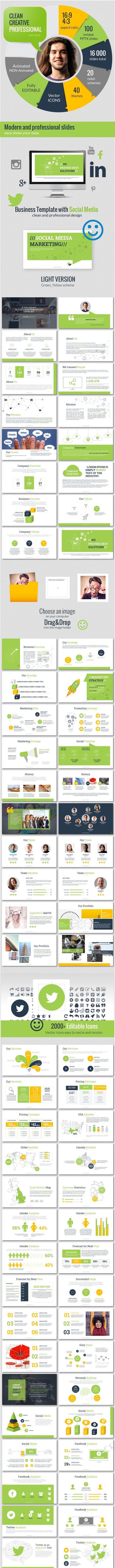 Social Media Deck Presentation Template - Business PowerPoint Templates