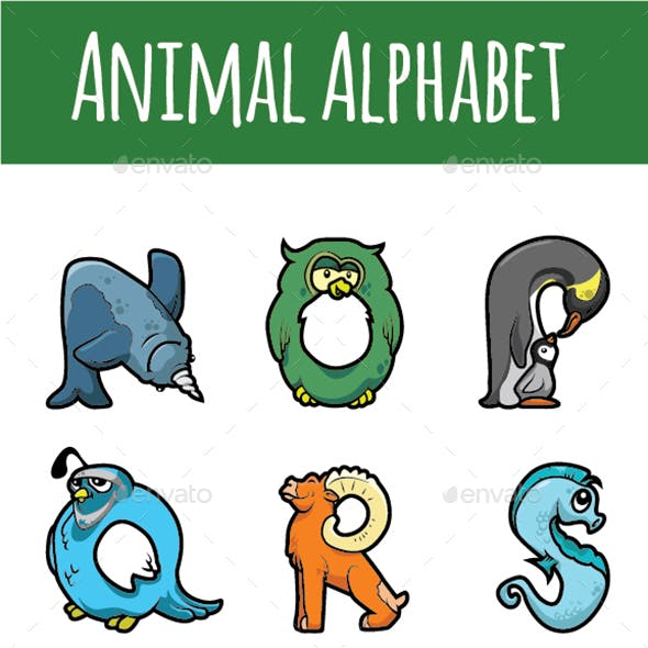 Animal Alphabet Letters N to Z