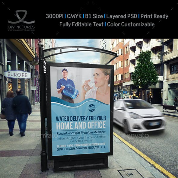 Delivery Drinking Water Service Poster Template