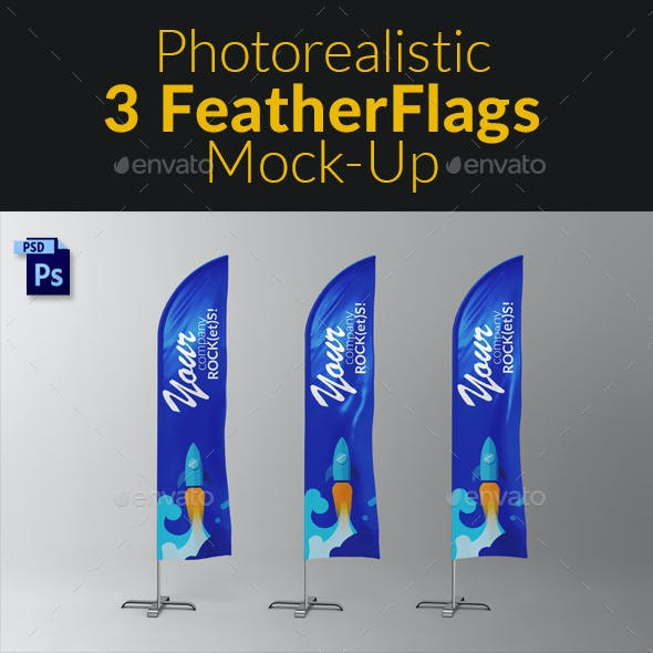 3 Feather / Beach / Bow / Sail Flag MockUp
