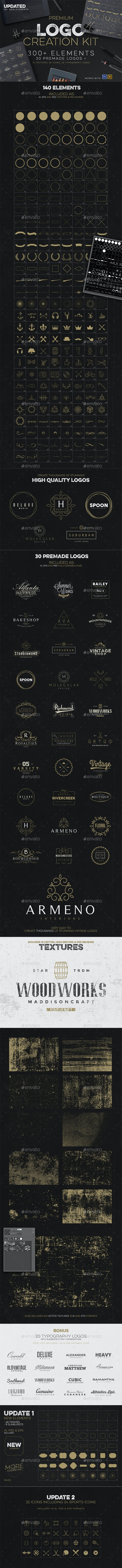 Logo Creation Kit + Bonus - Badges & Stickers Web Elements