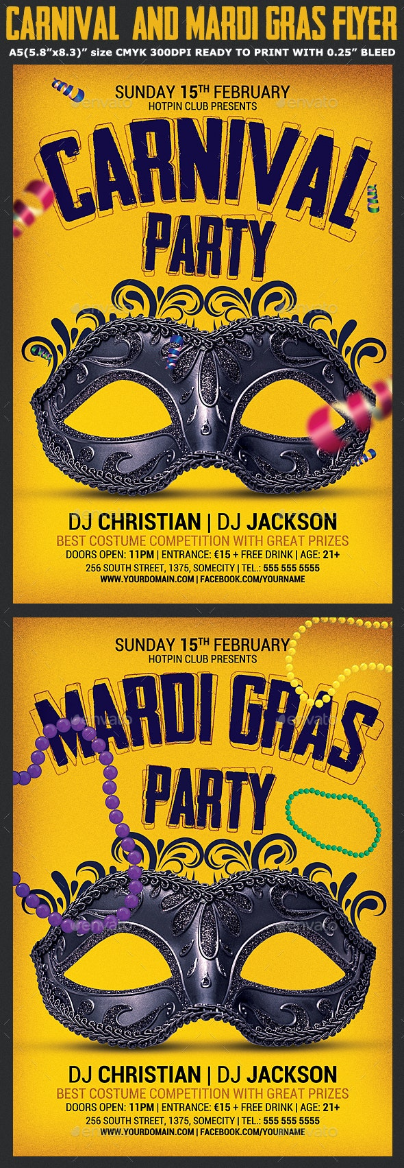 Carnival & Mardi Gras Party Flyer - Clubs & Parties Events