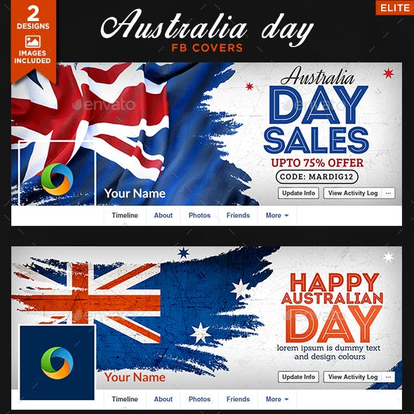 Australia Day Facebook Covers - 2 Designs