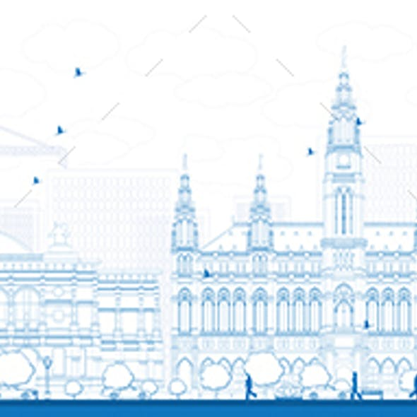 Outline Vienna Skyline with Blue Buildings.