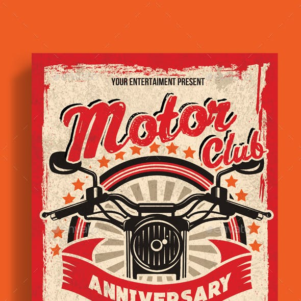 Motor Club Anniversary Event Poster Flyer