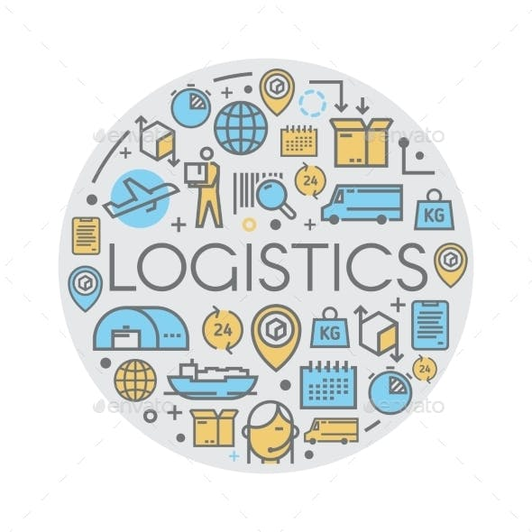 Line Vector Logistics Icons.