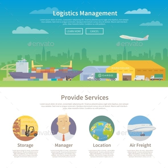 One Page Web Design Template. Logistics.
