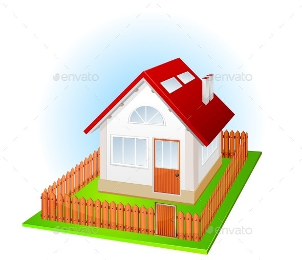 Small House with Fence - Buildings Objects