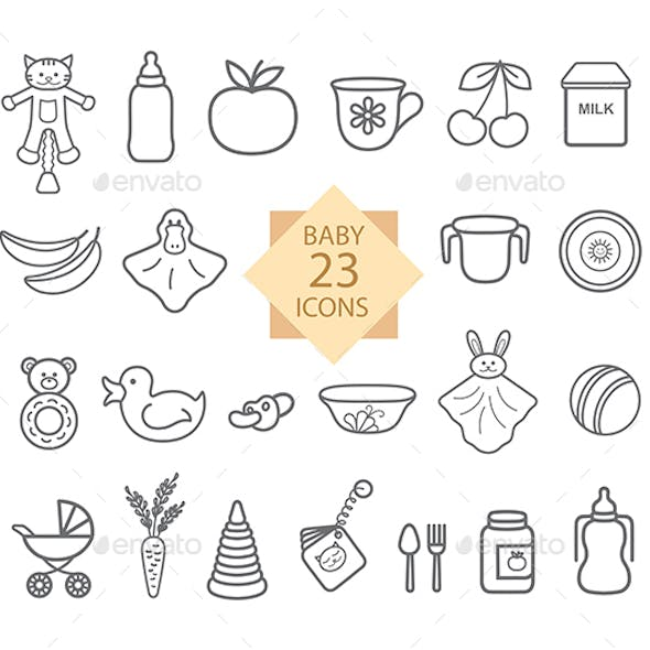 Baby Equipment. Set of Line Icons: Toys, Food, Eat, Crockery.