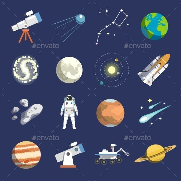 Astronomy Flat Icons Set