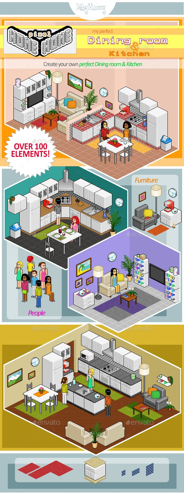 Pixel Creator - My Perfect Dining Room & Kitchen - Objects Illustrations