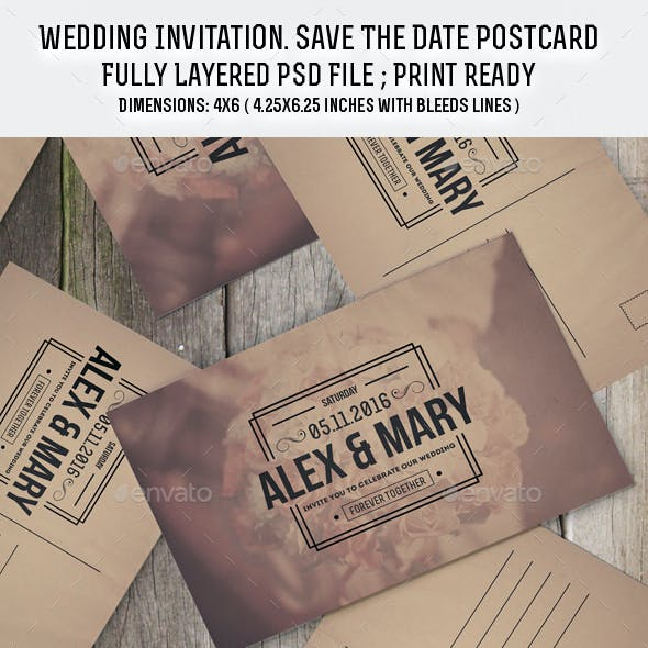 Wedding Invitation Save The Date Postcard