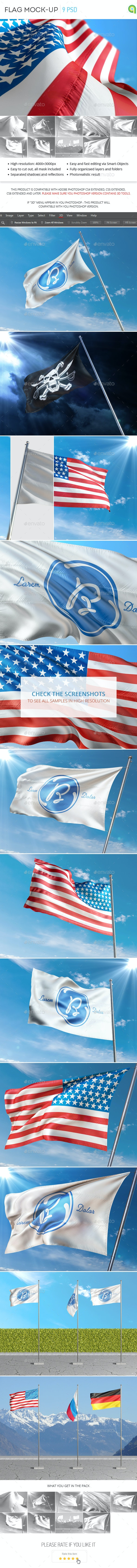 Flag Mockup - Logo Product Mock-Ups