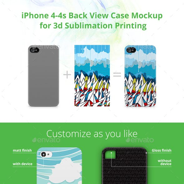iPhone 4-4s Case Design Mockup for 3d Sublimation Printing - Back View