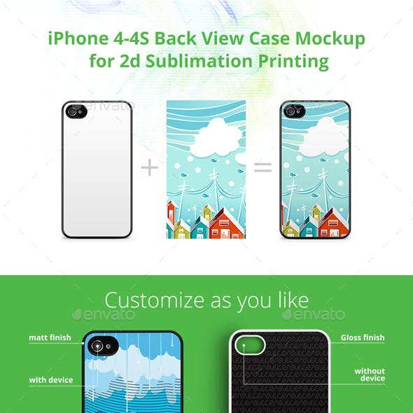 iPhone 4-4S Case Design Mockup for 2d Sublimation Printing - Back View