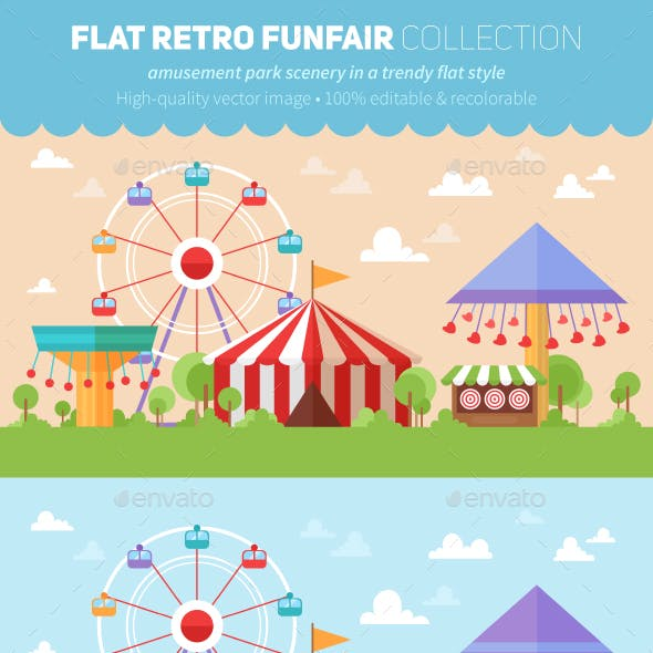 Flat Retro Funfair Scenery