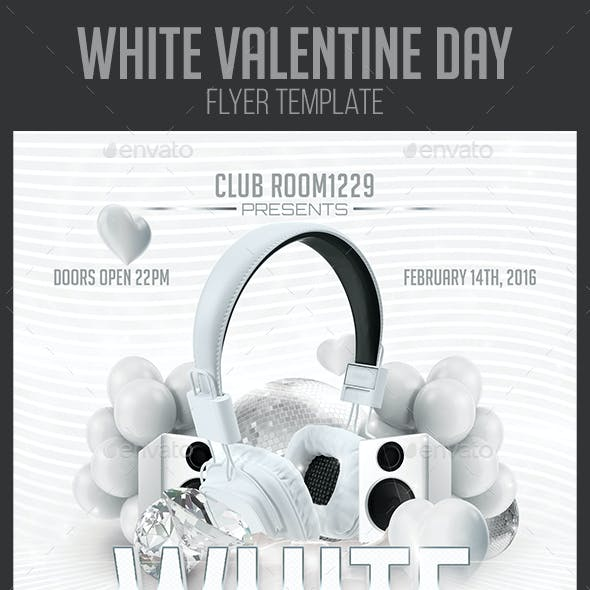 White Valentine Day Flyer Template